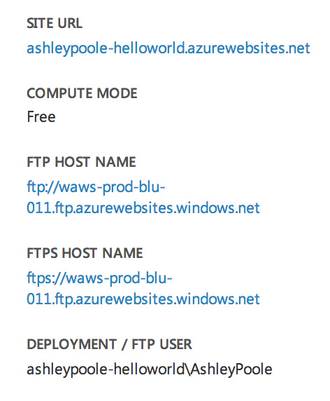 Azure Dashboard Snippet
