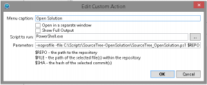 SourceTree Create Custom Action
